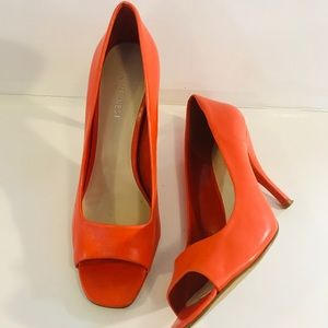 Women's Orange Nine West Open Toe Heels-Sz 7.5